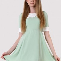 Mint Green High Waist Scrolled Dress