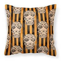 Watecolor Halloween Day of the Dead Head Fabric Decorative Pillow BB7527PW1818