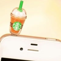 OOOUSE Hot New Starbucks Coffee Style 3.5mm Headphone Anti-dust Plug Cap for Iphone 4 4S Samsung Galaxy HTC LG - Brown Color