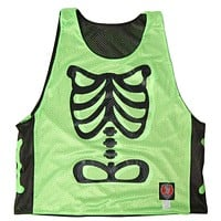 Skeleton Neon Green Lacrosse Pinnie