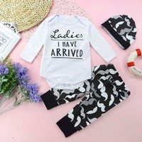 3Pcs Infant Baby Boy Girl Long Sleeve Romper Tops+Pant Outfits Clothes Set 0-24M