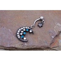 Black Moon Belly Button Ring