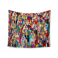 """Notsniw """"Where's Bowie?"""" Red Black Wall Tapestry"""