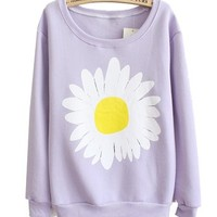 Mooncolour Women Chrysanthemum Crewnek Pullover Spring Thin Sweatshirt