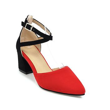 Women's Color Blocking Ankle Strap Buckle High Heel Thick Heel Toe Covered Sandals