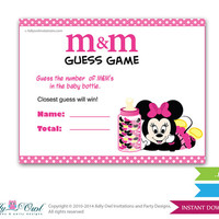 Girl Minnie Mouse M&M Game, Guess How Many Game Candies in the bottle  Baby shower  Minnie Mouse  Shower DIY Black Pink  Polka- oz09bs50