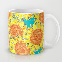 sunflower field Mug by Sharon Turner