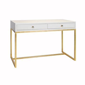 William White Desk with Gold Base