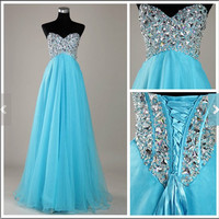 Beads Blue Sweetheart Strapless Lace-up Empired Long Bridesmaid Celebrity Dress,Organza Formal Evening Party Prom Dress New Homecoming Dress