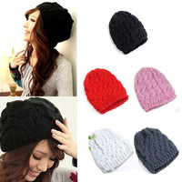 Women Knit Winter Warm Crochet Hat Braided Beret Beanie Cap J8853 = 1958473092