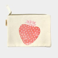 Strawberry Cotton Canvas Eco Pouch Makeup Bag