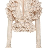 Beige Long Sleeve Lace Blouse