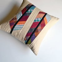 Modern Pillow Cover, Quilted Pillow Cover, Modern Pillow, Feathers, 16 x 16, Stripe Throw Pillow