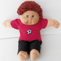 """Cabbage Patch KIDS 16 inch BOY Red soccer Ball Raglan t shirt and Black Pants, handmade by adorabledolldesigns, CPKKids16"""""""