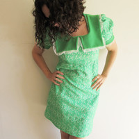 Super Cute Bright Lime Green and White Textured Polyester Mini Dress