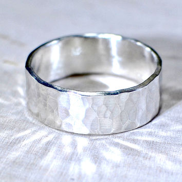 Hammered Sterling Silver Ring Handmade with Extra Sparkle