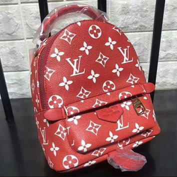 LV Louis Vuitton Women Casual School Bag Cowhide Leather Backpack