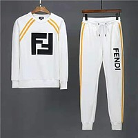FENDI 2018 winter new high quality men's fashion casual two-piece suit White