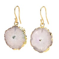Agate Dangling Earrings - White