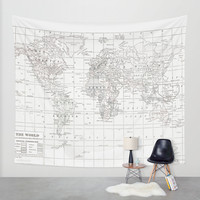 World Map ~ White on White Wall Tapestry by Catherine Holcombe