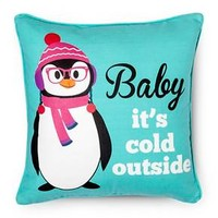 """Snowy Night Penguin Pillow - Multi-Colored (14""""x... : Target"""