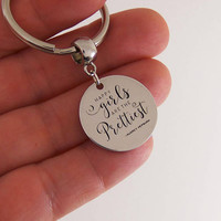 Happy girls are the prettiest keychain, audrey hepburn quote, quote keychain, engraved keychain, audrey hepburn gifts, pretty girl key chain