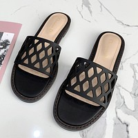 Christian Dior new solid color hollow ladies flat sandals beach slippers Shoes