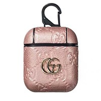 GUCCI Fashionable Luxury AirPods Bluetooth Wireless Earphone Case Protector (No Headphones) Rose Golden