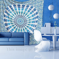 Indian Tapestries Blue wall hanging Mandala Tapestry Hippy throw Ethnic Queen Bedsheet Decorative Wall art Decor Beach Blanket Sofa cover