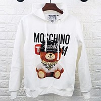 Moschino Autumn And Winter Fashion New Letter Bear Print Hooded Long Sleeve Sweater Top White