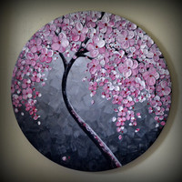 """ORIGINAL Fine Art Modern Tree Painting Black and White Landscape Home Decor 20"""" Abstract Heavy Textured Pink Flowers Palette Knife Artwork"""