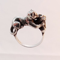 Artisan Handmade Ring Cat With Ball Playing Cat Ring Dancing Cat Silver Ring 13 gram 925 Sterling Silver Jewelry Best Gift Idea