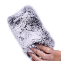 Rhinestone Winter Warm fur with Lace Cover for iPhone 4/4s-grey