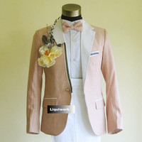 Fancy Light Pink Slim Fit Prom Wedding Casual Dress Suits Tuxedos Men SKU-123068
