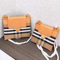 Burberry New fashion stripe leather shoulder bag crossbody bag women