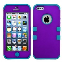 MyBat Tuff Case for iPhone 5/5G/5s - Retail Packaging - Grape/Tropical Teal