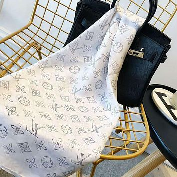 Bunchsun LV Trending Woman Stylish Accessories Sunscreen Cape Scarf Scarves(3-Color) White I-TMWJ-XDH