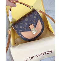 Bunchsun Louis Vuitton Lv used saddle bag Masculine style V Type Contrast Coffee