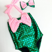 Mermaid Swimsuit + Bow Headband (Baby + Girls Sizes)