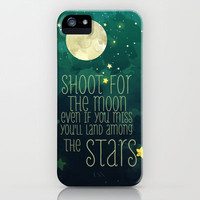 The moon and stars iPhone Case by Sara Eshak