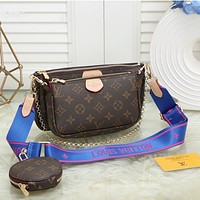 Inseva LV Three Piece Suit Bag Louis Vuitton New fashion Handbag Leather Crossbody Bag Pink