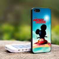 Disney Mickey Mouse Flying Aladin - For iPhone 5 Black Case Cover