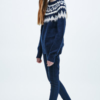 Cooperative Christmas in Siberia Jumper in Navy - Urban Outfitters