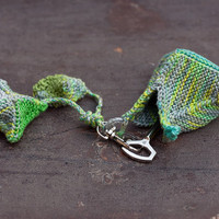 Geometric fiber keychain, knitted accessories, green gray yellow, OOAK
