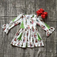 Christmas girls children clothes baby grinch print cotton Fall/Winter white family long sleeve ruffles dress boutique match bow