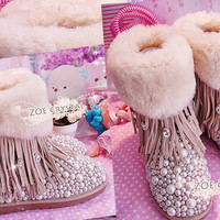WINTER Bling and Sparkly Cuff SheepSkin Wool Ugg Inspired Boots w Pearls and Crystals - ZoeCrystal