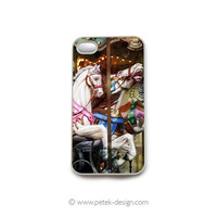 iPhone 4 Case. French Shabby Carousel Horses. READY TO SHIP, Fun Carnival Accessory for iPhone 4 and 4s. Colorful Vintage inspire photo