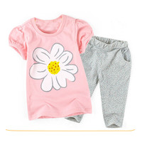 Girls Floral Print 2pc Shirt + Pants Set
