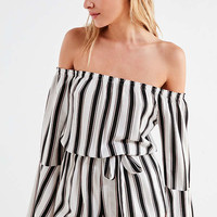 Silence + Noise Off-The-Shoulder Striped Bell-Sleeve Romper | Urban Outfitters