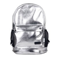 ZLYC Personalized Unisex Metal Tone Backpack Laptop Bag (silver)